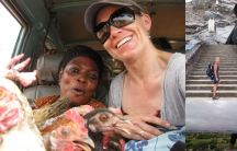 A collage of four photos shows women from various travel pictures