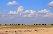 Civilians walk in a line in the desert.