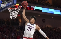 Gonzaga forward Rui Hachimura dunks the basketball against Saint Mary's during the first half in the finals of the WCC Basketball Championships in Las Vegas, March 12, 2019.