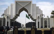 The motorcade of U.S. Secretary of State Mike Pompeo enters the Saudi Royal Court in Riyadh, Saudi Arabia