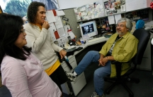 (Left to right) Gwen Muranaka, Mikey Hirano Culross and Mario Reyes, in the newsroom of the last remaining Japanese American daily newspaper, the Rafu Shimpo in downtown Los Angeles, 2010.