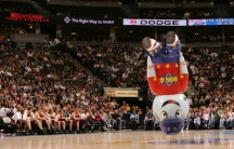 """The company """"Signs and Shapes"""" in Omaha builds inflatable mascots for professional sports teams, built to entertain and withstand a beating. """"Globie"""" is the mascot for the Harlem Globetrotters."""
