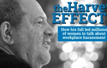 """This is a black and white image of a profile of Harvey Weinstein from 2012. In the space next to his face, text says """"The Harvey Effect: How his fall led millions of women to talk about workplace harassment."""""""