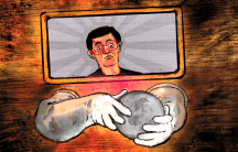 An illustration shows a man with the Japanese flag behind him holding a plutonium disc in his hands