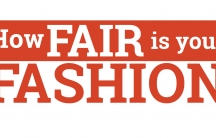 This logo says 'How fair is your fashion' in red letters