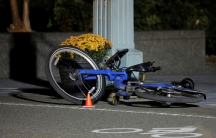 A bike lies in a bicycle lane following a truck attack on the West Side Highway in Manhattan, New York, on Nov. 1, 2017.