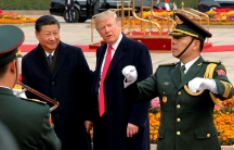 U.S. President Donald Trump takes part in a welcoming ceremony with China's President Xi Jinping in Beijing, China, November 9, 2017.