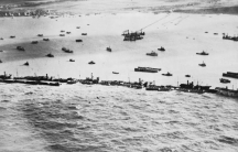 Allied forces building harbours in France.