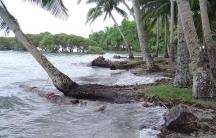 High tide at Nukatoa Island, in the Takuu Atoll, Papua New Guinea.