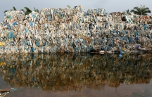 a big pile of plastic garbage