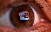 youtube logo reflected in an eyeball
