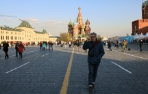 Marco Werman walks across Red Square in Moscow. Behind him is the iconic St. Basil's Cathedral.