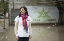 social worker in soccer field