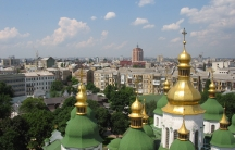 A cityscape view from onion domes