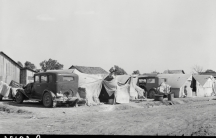 a migrant camp in the 1930s in the US