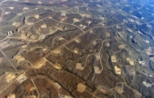 Aerial view fracking pads