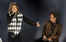 """Mick Jagger, left, and guitarist Keith Richards perform during the kick-off show of the Rolling Stones' """"No Filter"""" tour at Soldier Field in Chicago, Illinois, U.S. June 21, 2019."""