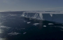 Drone footage shows large icebergs that have recently broken off the ice shelf in West Antarctica.