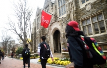 Students walk on the Temple University Campus