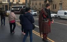 People crossing the street.
