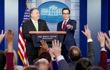 US Secretary of State Mike Pompeo and Treasury Secretary Steven Mnuchin take questions as they announce new sanctions onIranin the Brady Press Briefing Room of the White House in Washington, DC,on Jan. 10, 2020.