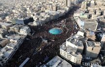 A massive crowd of mourners gathers on the streets of Tehran, Iran.