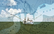 A shrimp boat is shown in a illustration that combines the boat with a map of the Mississippi Delta.