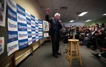 Democratic USpresidential candidate Sen.Bernie Sanders speaks to supporters and volunteers at a campaign field office in IowaCity,Iowa,Feb.2, 2020.