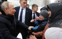 Russian President VladimirPutingreets local residents before visiting a college of chemical technology in Cherepovets, Russia, Feb. 4, 2020.