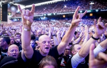 a crowd at a Metallica concert in Denmark.