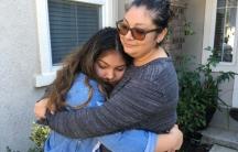 Guadalupe Garcia (left) hugs her mother Gabriela Garcia.