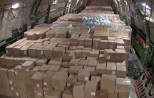 A cargo plane full of boxes