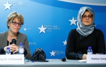 Agnès Callamard, U.N. special rapporteur on extrajudicial, summary or arbitrary executions, and Hatice Cengiz, the fiancee of murdered journalist Jamal Khashoggi, hold a news conference in Brussels, Belgium, on Dec. 3, 2019.