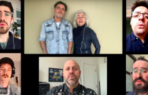 A group of people collaborate in different screens on video call