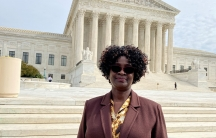 Doreen Oport, who was injured in the attack on the US Embassy in Nairobi, Kenya in 1998, stands outside the US Supreme Court after oral arguments in Washington,Feb.24, 2020.