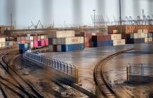 Commodities containers are seen atShahidRajaeeharbor