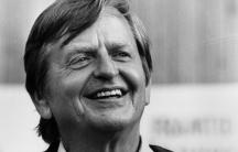 A black and white portrait photograph of Olof Palme.