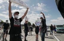 Derrick Sanderlin, right, at a Black Lives Matter protest in San Jose, California, last month.