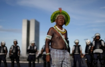 Indigenous leaderPaulinhoPaiakantakes part in an Occupy Funaiprotest that will shut down Funai offices throughout Brazil in Brasilia,July 13, 2016.