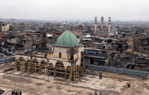 A general view of the Grand al-Nuri mosque during its reconstruction, in the old city of Mosul, Iraq, Jan.23, 2020.