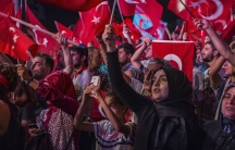President Recep Tayyip Erdoğan's supporters rally in Istanbul in 2016 following the failed coup.