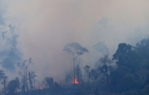 An aerial view of a tract ofAmazonjungle burning as it is cleared by farmers in Itaituba, Para, Brazil, Sept. 26, 2019.