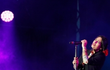 Ana Tijoux performs during a concert by female artists on the eve of International Women's Day, in the Zocalo in Mexico City, March 7, 2020.