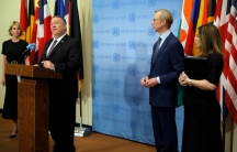 Secretary of State Mike Pompeo speaks to reporters following a meeting with members of the U.N. Security Council, Aug. 20, 2020.