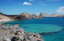 An image of blue water surrounding the Galápagos Islands.