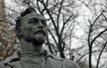 "The monument to ""Iron Felix"" Dzerzhinsky, the founder and patron saint of the Soviet secret police."