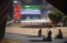 Tel Aviv City Hall is lit up with the flags of the United Arab Emirates and Israel as the countries announced they would soon be establishing full diplomatic ties, Aug. 13, 2020.