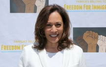 """United States Senator for California Kamala Harris attends the """"Families Belong Together: Freedom for Immigrants"""" March in Los Angeles, June 30, 2018."""