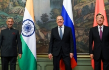 India's Foreign Minister S. Jaishankar, left, Russia's Foreign Minister Sergey Lavrov, and China's Foreign Minister Wang Yipose for a photo on the sidelines of a meeting of foreign ministers of the Shanghai Cooperation Organizationin Moscow, Russia, Sep