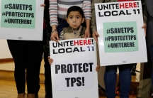 """A young boy is shown holding a large white sign that says, """"Unite here! Local 11, Protect TPS!"""" on it."""